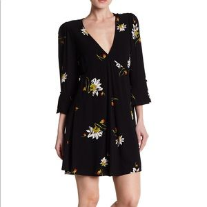 Free People Time On My Side Floral Wrap Mini Dress